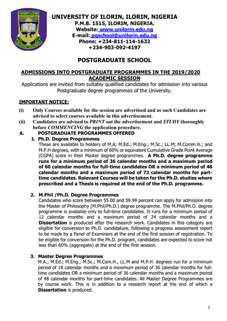 (UNILORIN) Postgraduate Admission Form for 2019 2020 Is Out