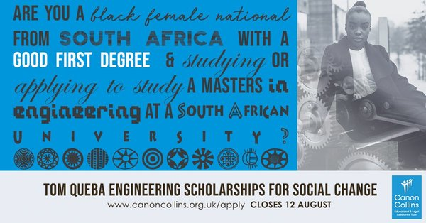Canon Collins Scholarship 2019 For South Africa Fully Funded Tom Queba Engineering for Social Change