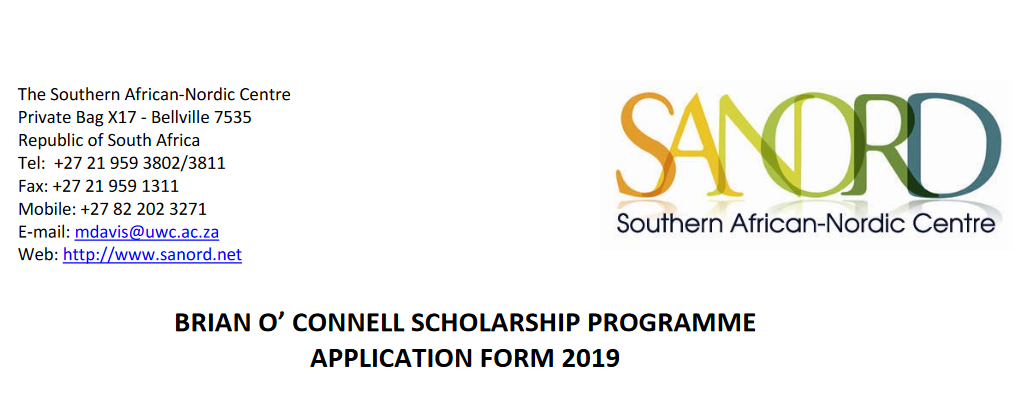 SANORD Brian O' Connell Scholarship 2019 For Southern Africans (Apply)