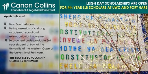Canon Collins Trust LLB Scholarships 2020 for study at the University of Fort Hare in South Africa
