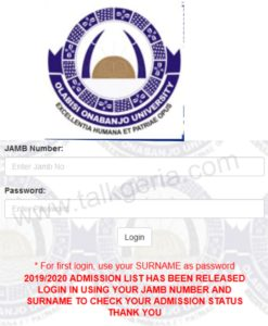 Check OOU Admission List 2019
