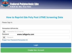 How to Reprint Ede Poly Post UTME Screening Date 2019