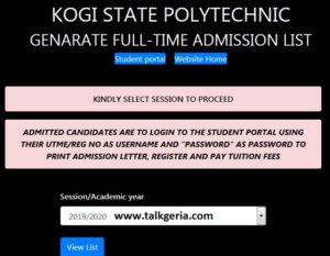Kogi State Polytechnic Admission List 2019-2020 Session