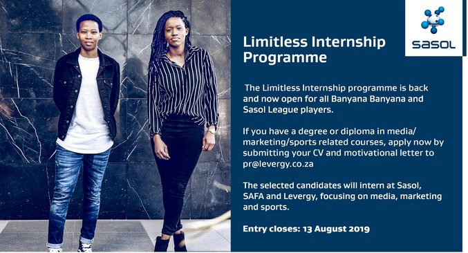 Sasol Limitless Internship 2019-2020 Program For South African women footballers