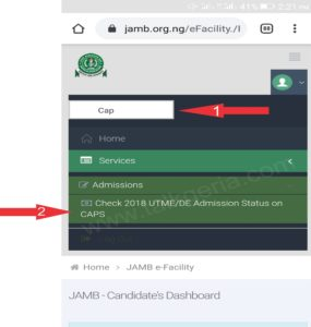 Admission Status on JAMB CAPS Portal using mobile