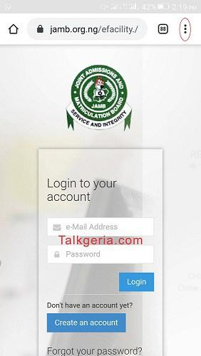 Admission Status on JAMB CAPS Portal using mobile