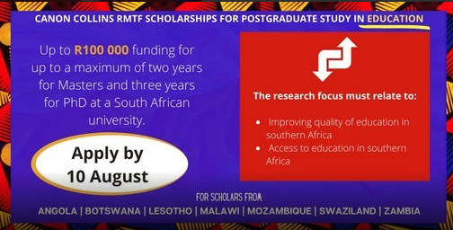 Apply For Canon Collins RMTF Scholarships 2021 Now In SA